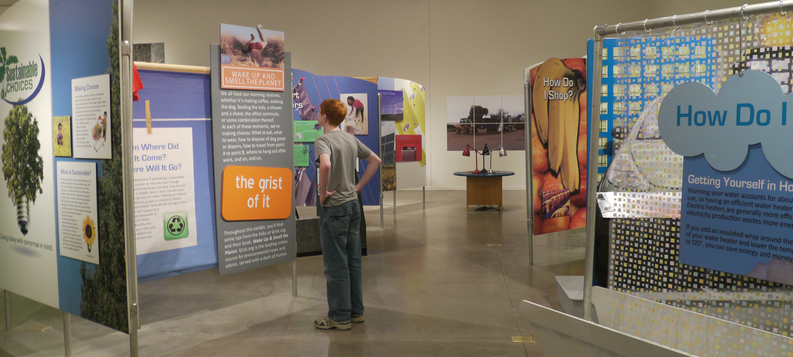 A visitor interpreting graphic panels in the Sustainable Choices exhibit.