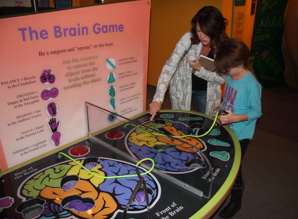 Visitors interacting with the Brain Operation Game.