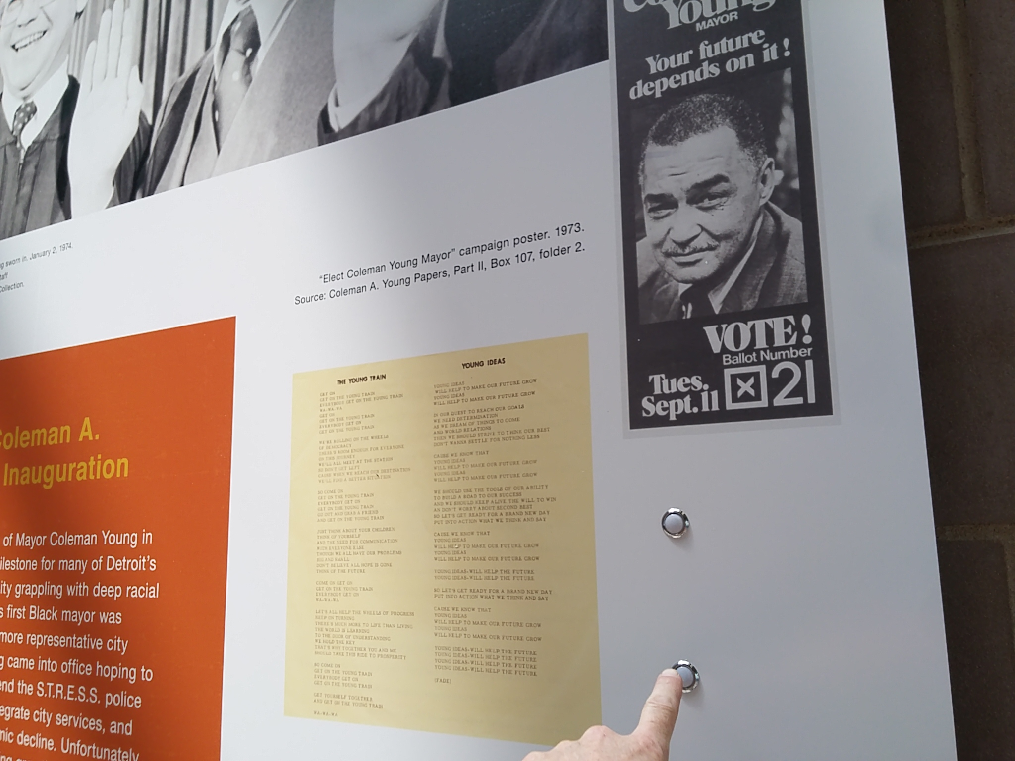 Push button interactives Flutter & Wow designed for the 12th Street Detroit 1967 exhibit.