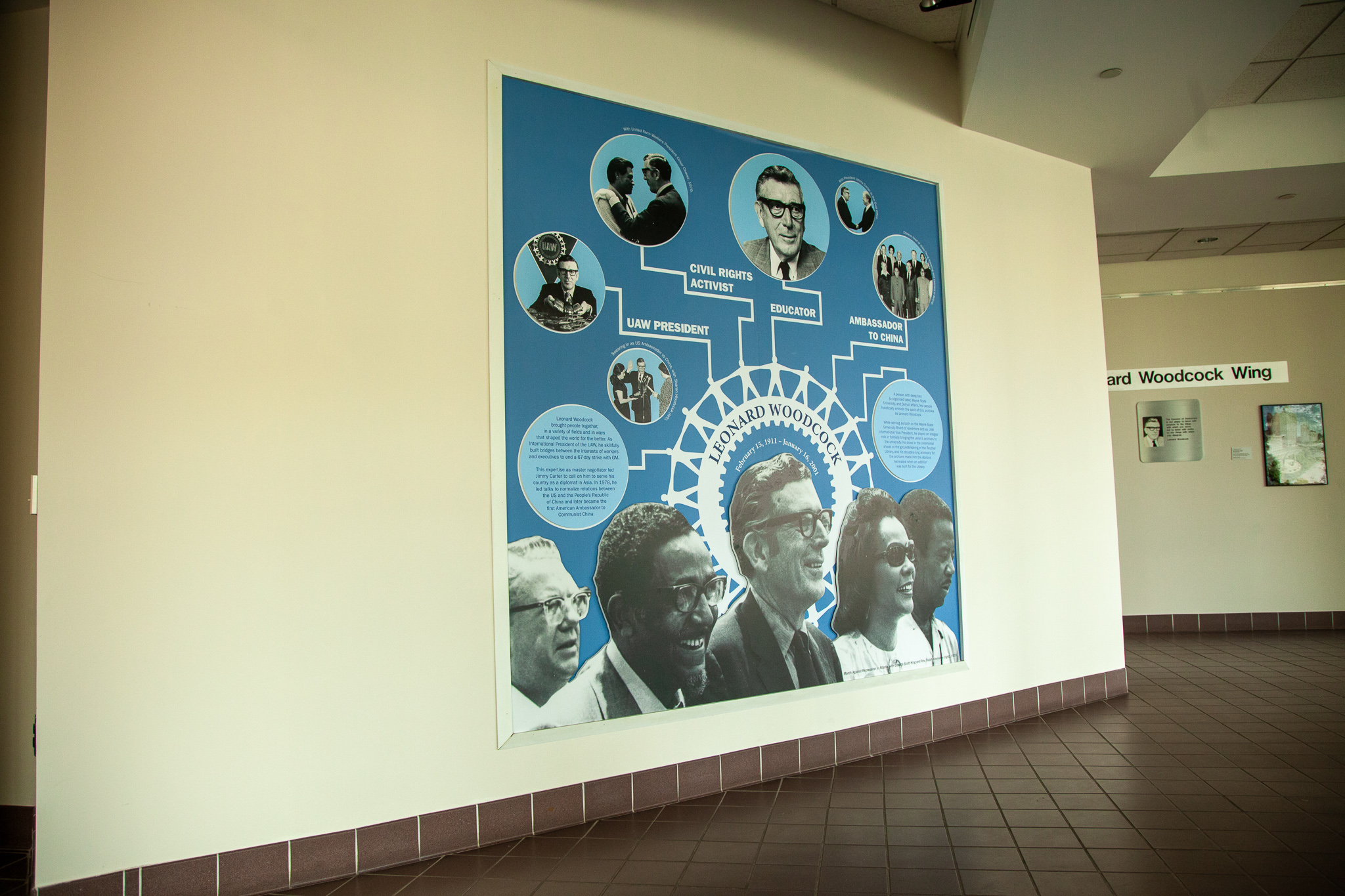 The Leonard Woodcock wall mural shown in the full space of the Leonard Woodcock Wing at Wayne State.