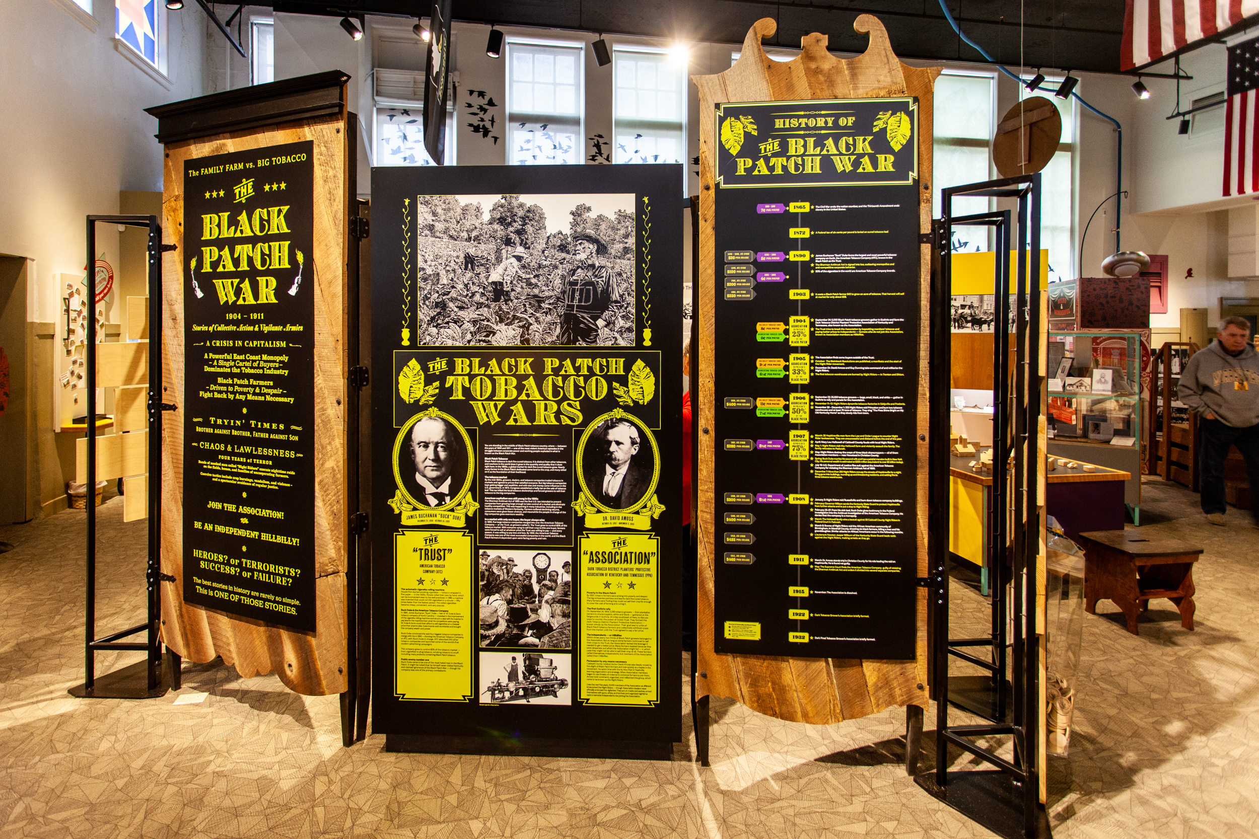 Black Patch War exhibit panels at the historic Pennyroyal Area Museum.