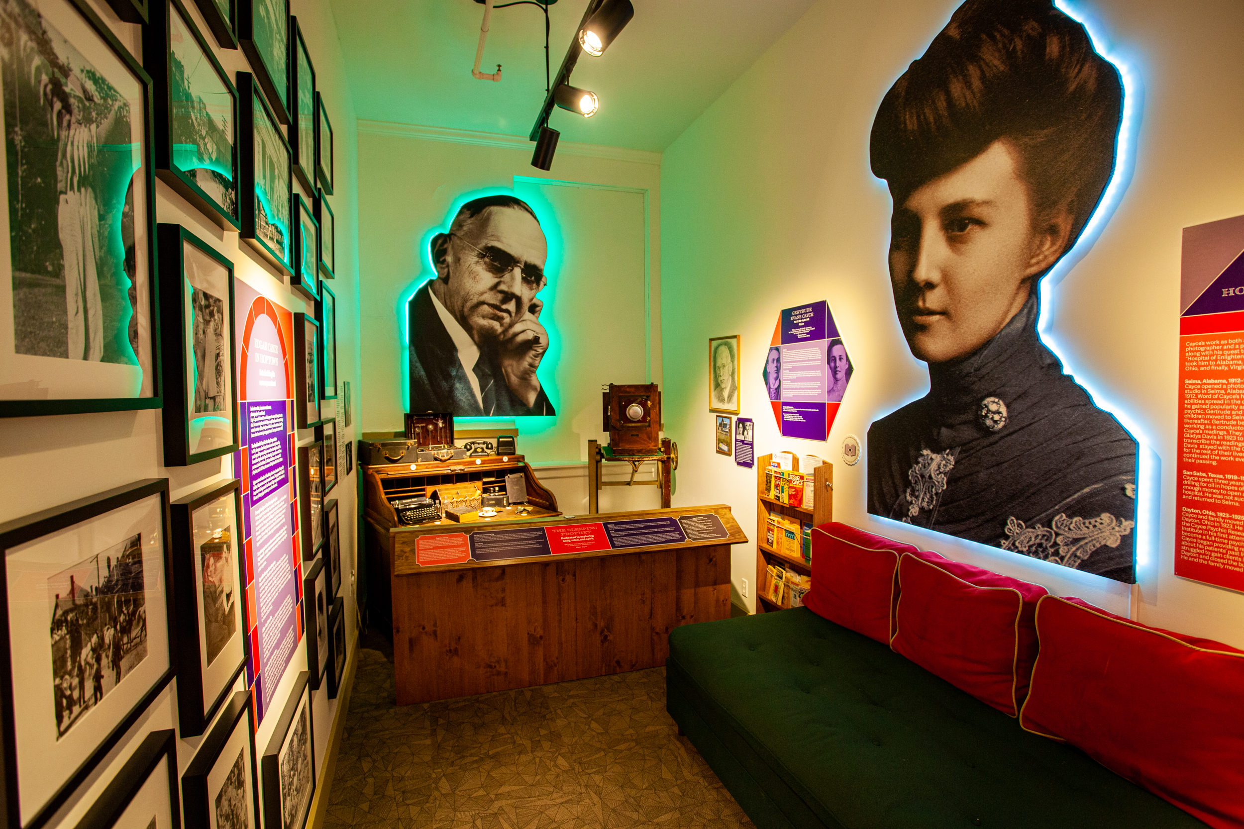 The Edgar Cayce corridor at the Pennyroyal Area Musuem highlights Cayce's journey as a psychic growing up and living in and around Hopkinsville, Kentucky.