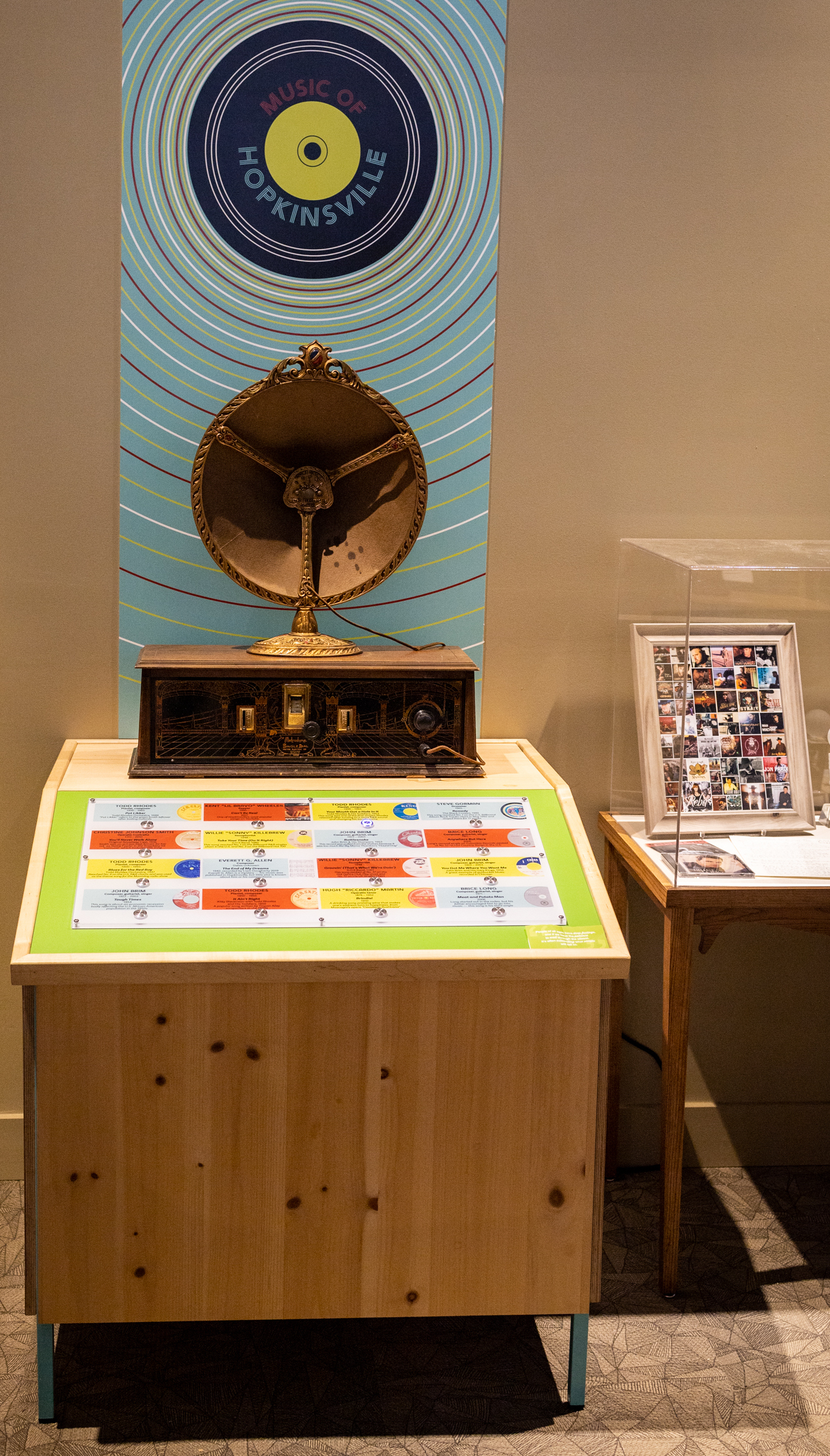 Sample the music of Hoptown through this interactive exhibit and antique speaker.