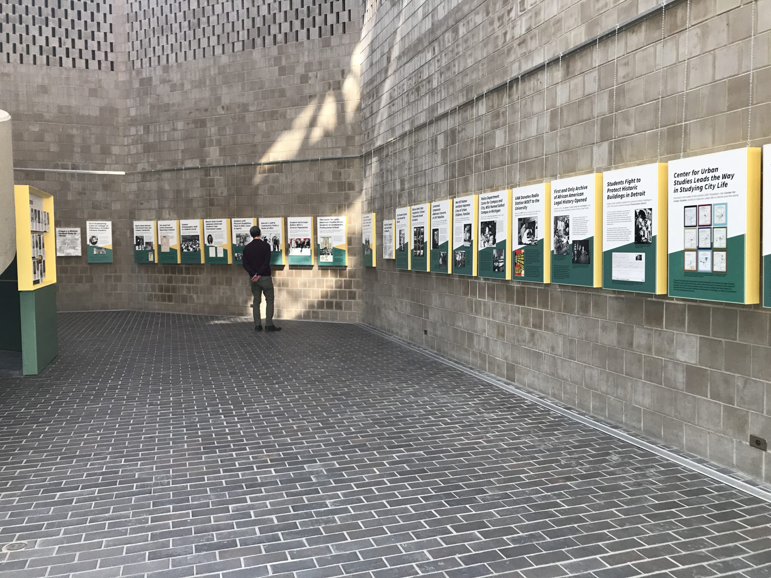 Hanging timeline highlighting important events throughout Wayne State University's 150 year history.