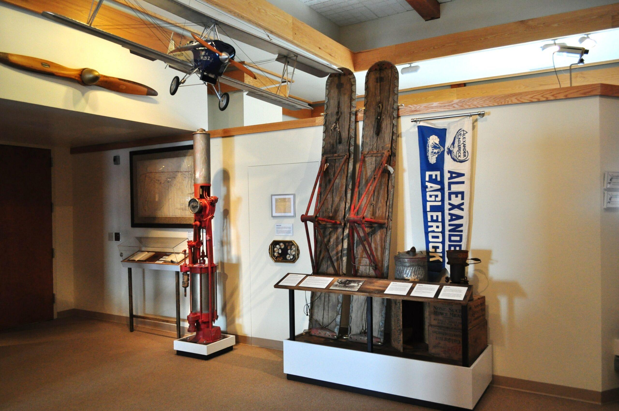 Historical artifacts incorporated in the Alaska's Pioneer Pilots exhibit.